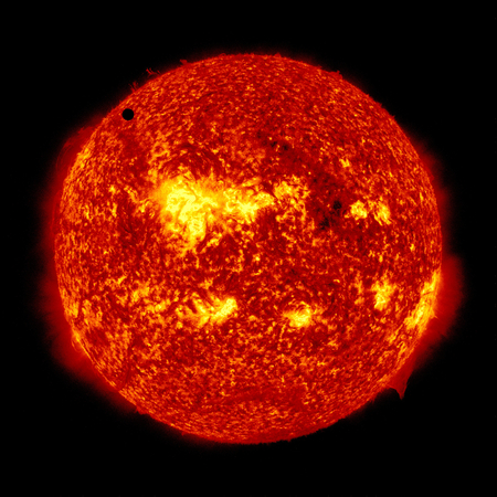 SDOs ultra-high definition view of 2012 Venus transit across the face of the sun. June 5th, 2012.This image furnished by NASA Editorial