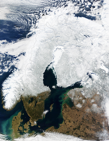 In this mostly cloud-free true-color scene, much of Scandinavia can be seen to be still covered by snow. This image furnished by NASA