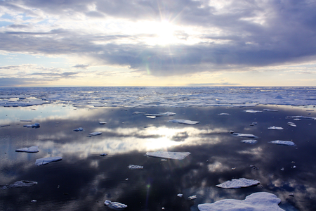 The U.S. Coast Guard Cutter Healy encountered only small patches of sea ice in the Chukchi Sea during the final days collecting ocean data for the 2011 ICESCAPE mission. This image furnished by NASA Stock Photo - 135438795