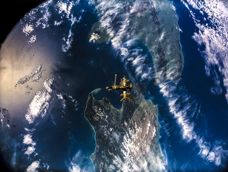 Full Mir over New Zealand, from the space shuttle Atlantis, Russia's Mir Space Station. this image furnished by nasa