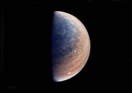 This enhanced color view of Jupiter's south pole was created using data from the JunoCam instrument on 's Juno spacecraft. this image elements furnished by Stock fotó