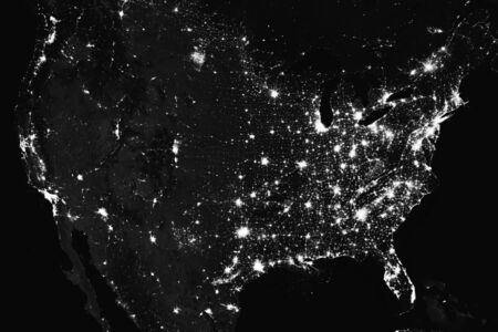 Amazing image of the  States of America at night. this image elements furnished by