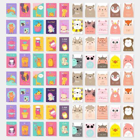 set of cute card with animal cartoon design vector template
