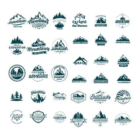 set of adventure mountain design vector template