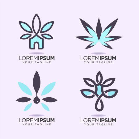 set of nature cannabis design vector template