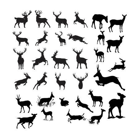 set of deer design vector template