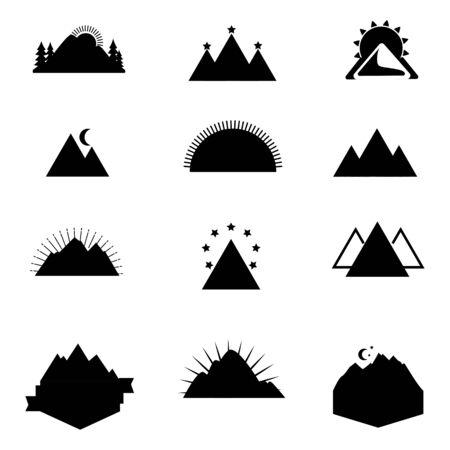 set of mountain  design vector template Illustration
