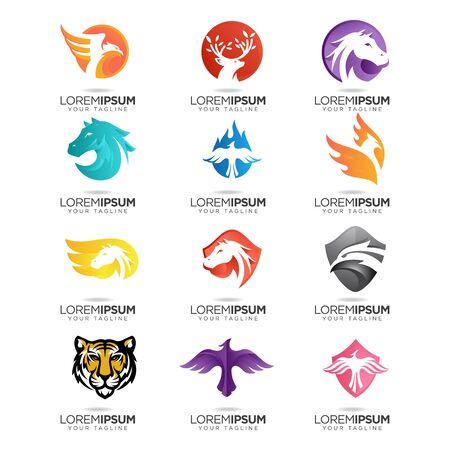 set of abstract animal modern  design vector template Illustration