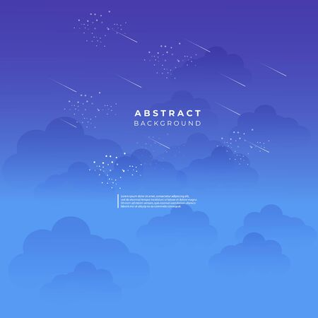 abstract cloud rain blue background - design vector template
