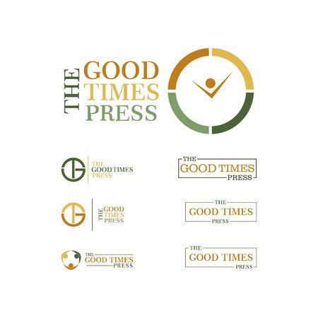 good time press clock  design vector template