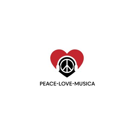 abstract peace love and music design vector template Illustration