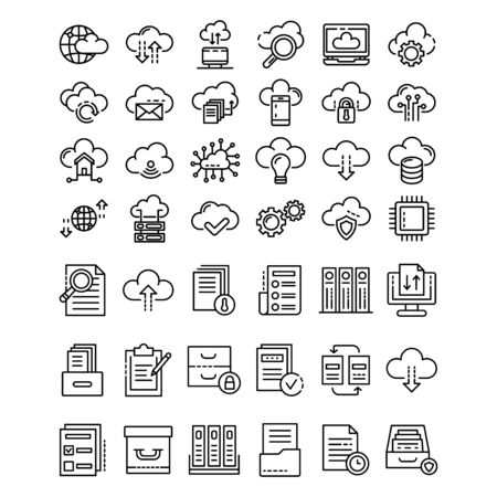 set of business technology server icon symbol  design vector template