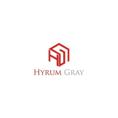 HG GH letter hexagon  design vector template