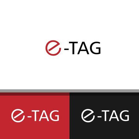 e letter tag design vector template
