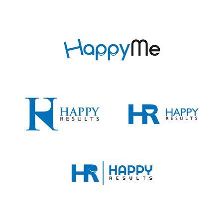 set of HR letter design vector template
