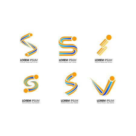 set of Si letter business logo design vector template Logo
