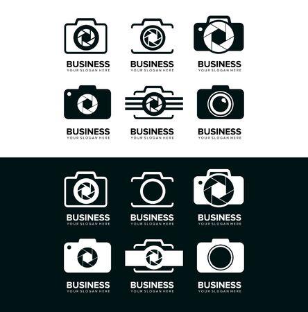 set of business technology camera logo design vector Illustration