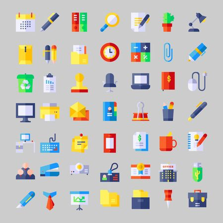 set of business office icon symbol design vector