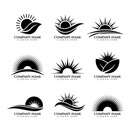 set of business sun leaf nature icon symbol logo design vector