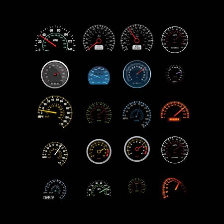 set of business technology speed speedometer design vector