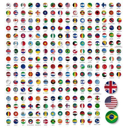 mega set of business national flag icon symbol design vector Illustration