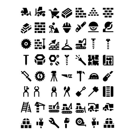 set of business technology construction icon symbol design vector