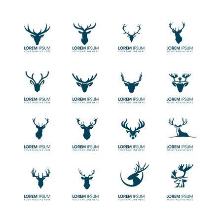 set of business technology icon symbol animal head deer logo design vector