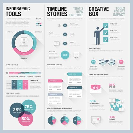 set of business infographic element design vector template