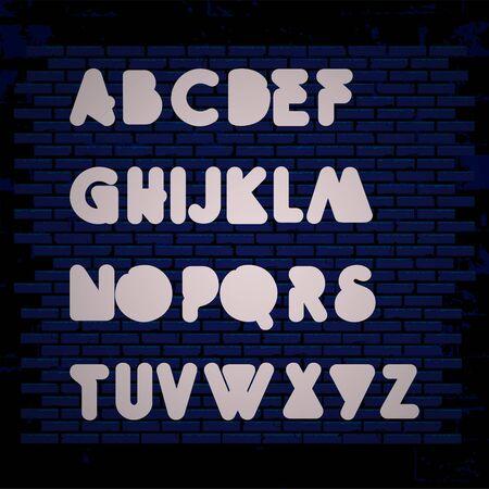 set of neon alphabet business technology icon symbol design vector