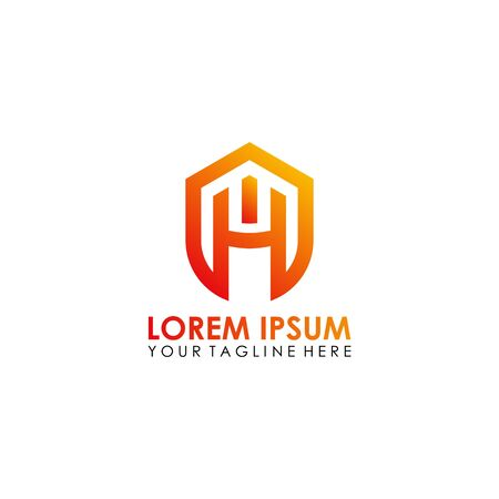H letter HM shield business logo design vector template