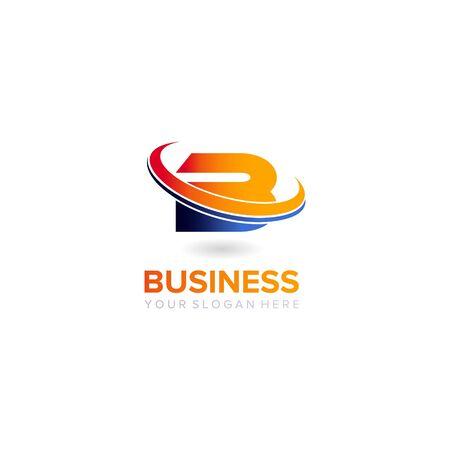 B letter swosh business logo design vector template Illustration
