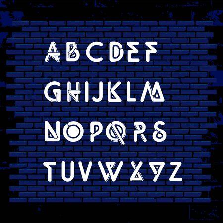 set of neon alphabeth business technology icon symbol design vector