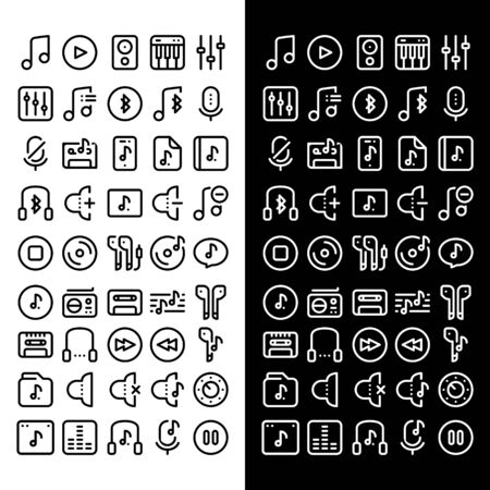 set of business technology music icon symbol design vector