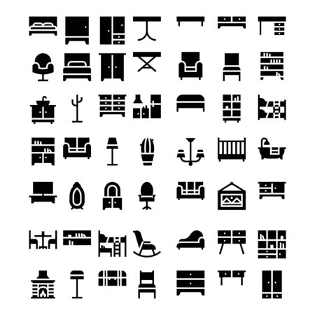 set of business furniture icon symbol design vector