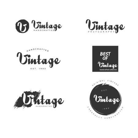 set of vintage business logo design vector template