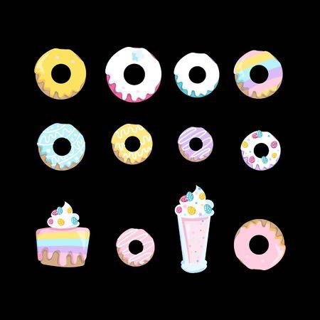 set of donut cake business design vector template
