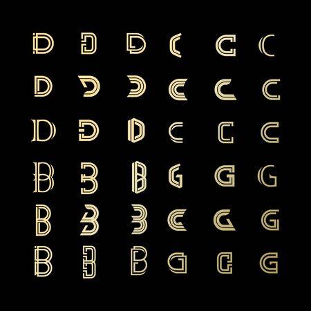 set of B C D letter business design vector