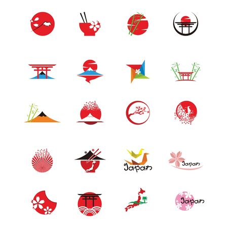 set of chiness japannese business logo design vector template icon symbol