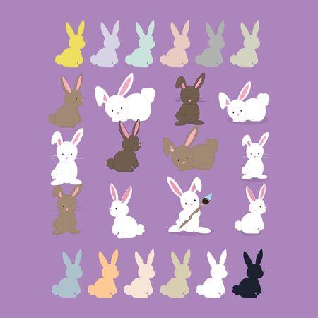 set of rabbit business design vector Illustration