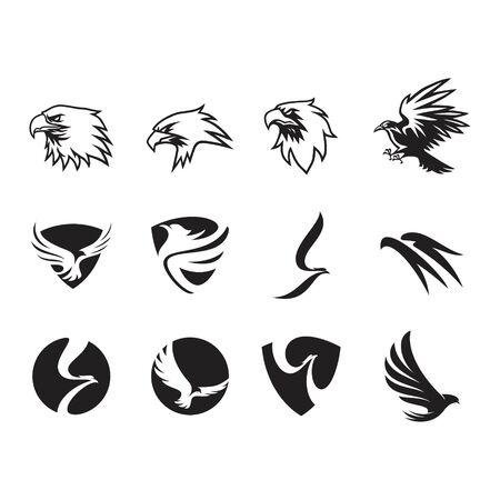 set of head eagle business logo design vector template Illustration