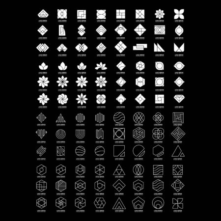 set of abstract business design vector template element shape geometric