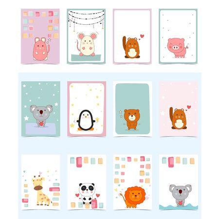 set of cute animal card,  business design vector template
