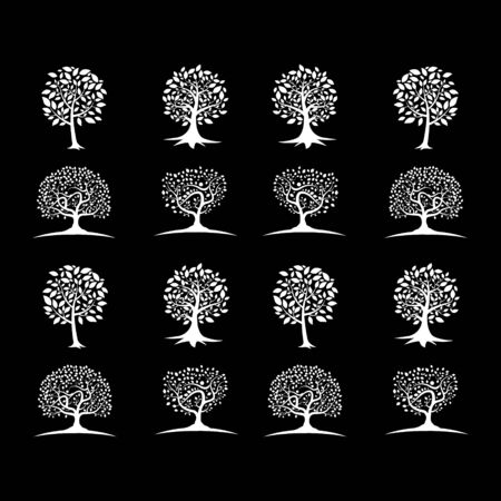 set of tree, abstract business design vector template element nature