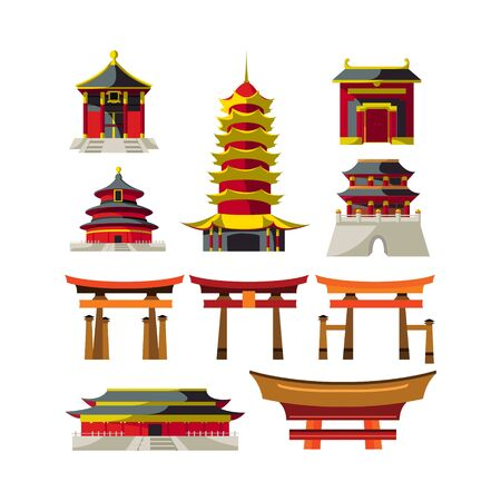 set of Chinese castle abstract business design vector template element building
