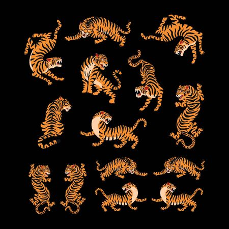 set of tiger, abstract business design vector template element animal Illustration
