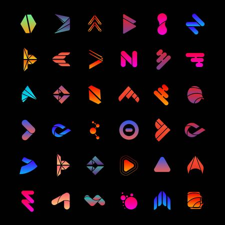 set of abstract business design vector template element letter