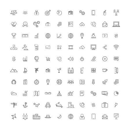 set of business icon symbol design vector