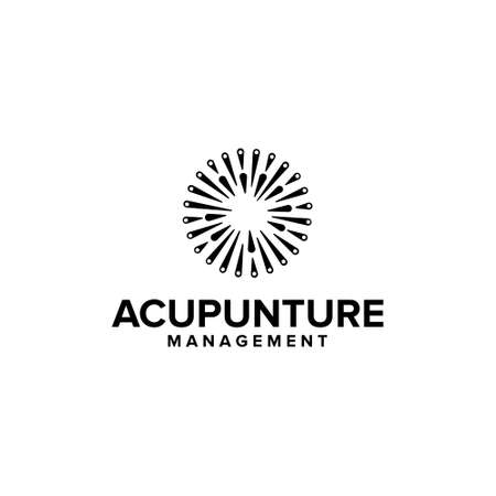 acupunture - business and health logo design vector