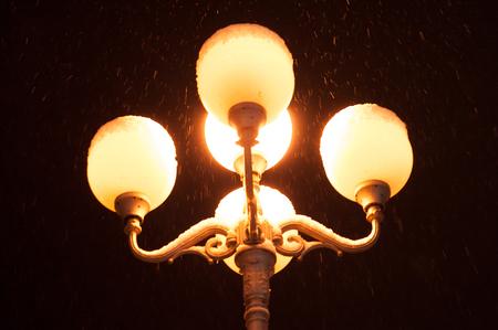 dark alley: street lamp at winters night