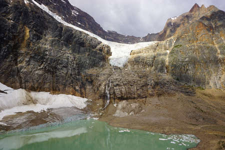 Alpine lake and glacier. Jasper National Park. Canadadian Rockies in Alberta
